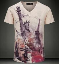 Men's Just Cavalli Liberty New York Cotton V-neck Top Fashion Casual T-shirt 4SZ