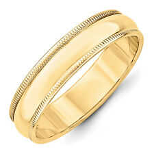 14K Yellow Gold 5mm Half Round Milgrain Wedding Band Solid Ring Sizes 4 - 14