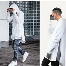New Mens Long Hooded loose Hip-Hop Streetwear dance Zipper Casual Sweatshirts