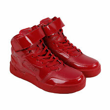Radii Segment Mens Red Patent Leather High Top Lace Up Sneakers Shoes
