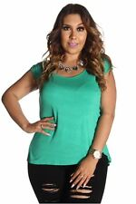 DEALZONE Solid Print Ruched Side Top 1X 2X Women Plus Size Aqua Short Sleeve USA