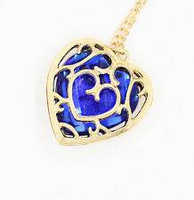 Women's Heart Shape Pendant Necklace Fashion Jewelry Red/Blue Stone