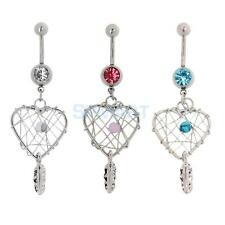 Love Net Dream Catcher Belly Button Bar Ring Navel Dangle Body Piercing Jewelry