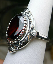 5ct Oval *Red Garnet* Solid Sterling Silver Victorian Filigree Ring Size Any/MTO
