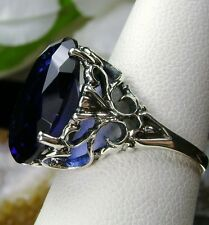 8ct Oval Cut*Sapphire Sterling Silver Vintage Revival Filigree Ring Size Any/MTO
