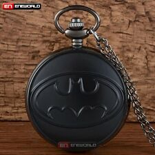 Fashion Black Batman Quartz Vintage Pocket Watch Chain Necklace Pendant Gift UK