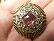Amethyst Glass Jewel Double Border Brass Antique Gay 90's Purple Button 1-1/2""