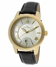 NEW Lucien Piccard LP-10046-02S Mens Gold Textured Dial Leather Dress Date Watch
