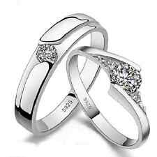 1 Pair Lovers Romantic Heart Crystal Couple Rings Her and His Promise Ring Nice