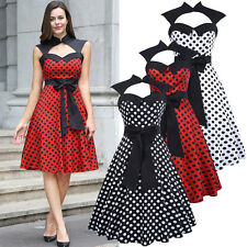 Vintage Womens 50s Bow-Knot Polka Dot Ball Gown Evening Party Swing Wiggle Dress