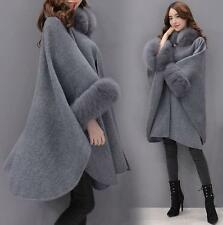 Womens Korean Wool Outdoor Cloak Fox Fur Collar Jacket Lady Long Coat cape nEW @