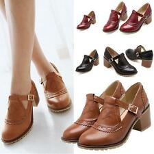 Mary Jane Womens Vintage Brogue  Block Mid Heel Oxford Pumps T strap Girls Shoes