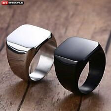 Black High Polished Smooth Mens Ring Jewelry Stainless Steel Band New Size 8-12