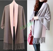Korean Womens Tassel Batwing Knitting Sweater Long Cardigan Cape Poncho Overcoat