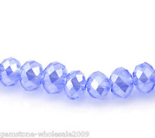 Wholesale Lots Lightblue AB Color Crystal Glass Faceted Rondelle Beads 6x4.5mm