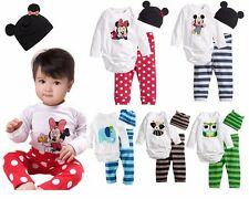 Baby Boys girls Clothes jumpers+ pants +hat sets playsuit baby rompers outfits