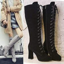 HOT Womens Platform Winter Lace Up Suede Leather Knee High Boots Long Booties @y