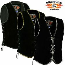 Mens Buckle Suede Leather Vest Biker Rider Leather Vest Waistcoat Hand Braided