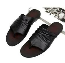 Summer Mens Leather Clip Toe Roman Flip Flops Gladiators beach Sandals slipper