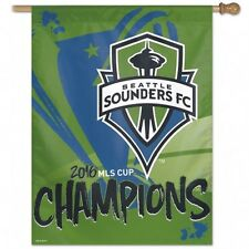 """MLS Seattle Sounders FC Wincraft 2016 Cup Champions 27"""" x 37"""" Vertical Flag NEW!"""