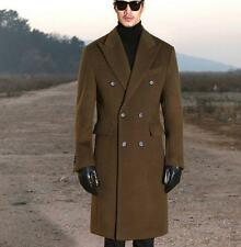 Mens Winter Double-breasted Wool Blend long loose Trench formal Coat Outerwear