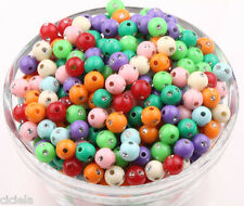 Lots 100Pcs 6mm Mixed Color Acrylic Round Spacer Loose Beads Bracelet Necklace