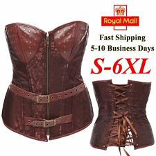 Gothic Steampunk Corset Faux Leather Boned Lace-up Bustier Shapewear Brocade UK