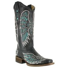 Corral Ladies Square Toe Western Boots Black Turquoise Wing & Cross Studs A1142
