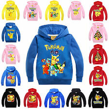 Kids Girls Boy Pokemon Pikachu Sweatshirt Hoodies Coat Hoodied Outfits Sets Xmas