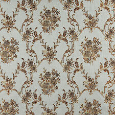 A0014A Blue Gold Brown Ivory Floral Brocade Upholstery Drape Fabric