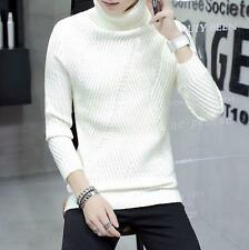 Mens Turtleneck Tees Tops Winter Thicken Knitted Wool cotton pull on sweater