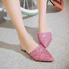 Fashion BlingBling Womens Shiny Sequin Pointy toe Low heel Slipper Shoes Mules