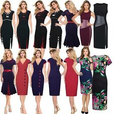 NEW UK Wiggle Ladies Elegant Pencil Midi Dress Retro Slim Sheath Bodycon Dress