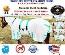 Horse Bug Mosquito Fly Sheet Summer Spring Airflow Mesh UV Neck 73140