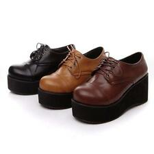 Women Lace up Wedge Heel Gothic Oxfords Retro Creeper Shoes cosplay mary janes @