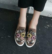 Fashion Womens Flat Flower Rhinestone Slip On Loafers Casual Boat Shoes moccasin