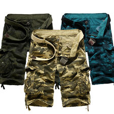 Mens Camouflage Cargo Bermuda Shorts Pants Army Camo Combat Casual Work Trousers
