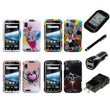 For Motorola Atrix 4G Design Snap-On Hard Case Phone Cover Charger Stylus