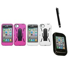 For Apple iPhone 4/4S Kickstand Case Heavy Duty Hard Soft Case Cover Mount+Pen
