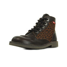 Bottines Kickers femme Kick Col Marron Fonce Pony taille Cuir Lacets
