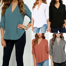Casual Womens V-Neck Blouse Chiffon Long Sleeve Ladies Top T shirt Loose Tops