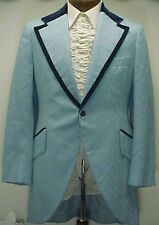 VINTAGE 2 tone BLUE BROCADE & VELVET SMOKING JACKET TUXEDO MENS TUX JACKET