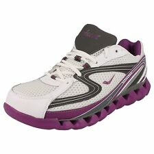 Ladies Ascot White/Purple lace up trainers SPRING WAVE