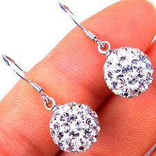 925 Sterling Silver Shiny Crystal Round Disco Ball Earrings/Pendant/Bracelet