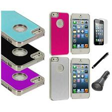 Aluminium Brushed Metal Hard Ultra Thin Case+LCD+Charger+Pen For iPhone 5 5S
