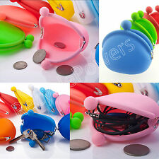 Candy Girl Rubber Jelly Cute Colorful Silicone Coin key Bag Purses Wallets LOT