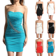TheMogan Women's Strapless Embellished Ruched Bodycon Party Cocktail Short Dress