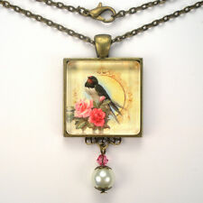 """CHARMING BIRD PINK ROSE """"VINTAGE CHARM"""" BRONZE OR SILVER PENDANT NECKLACE"""