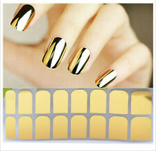 16Pcs Shiny Foil Armour Full Nail Art Stickers Nail Patch Manicure Pure Color
