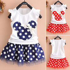 Toddler Kids Baby Girls Minnie Mouse Outfits Clothes T-shirt Tops + Skirt Dress